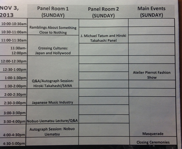 Oni-Con Sunday schedule