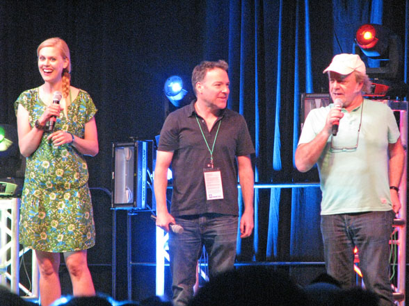 Janet Varney, left, Richard Horvitz and Jim Cummings at Kawaii Kon '14 opening ceremonies.