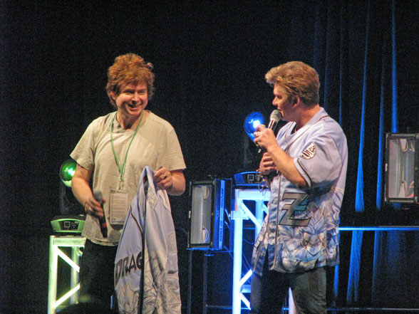 Quinton Flynn, left, and Vic Mignogna at Kawaii Kon '14 opening ceremonies.
