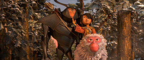 "Beetle, Kubo, and Monkey emerge from the forest and take in the beauty of the landscape in ""Kubo and the Two Strings."" Courtesy Laika Studios/Focus Features."