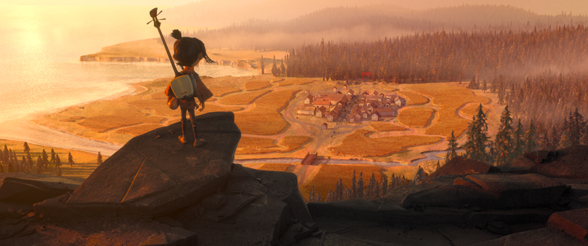 "Kubo (voiced by Art Parkinson from ""Game of Thrones"") takes in the scenery below as he sets off on a journey to his village. Courtesy Laika Studios/Focus Features."