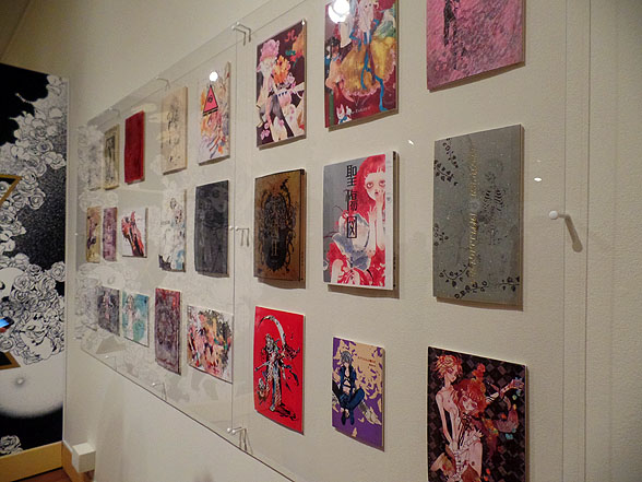 An entire wall is devoted to displaying doujinshi Takaya has published over the years. Photo by Jason S. Yadao.